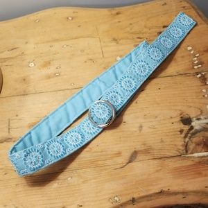 Talbot's embroidery teal belt Sz S